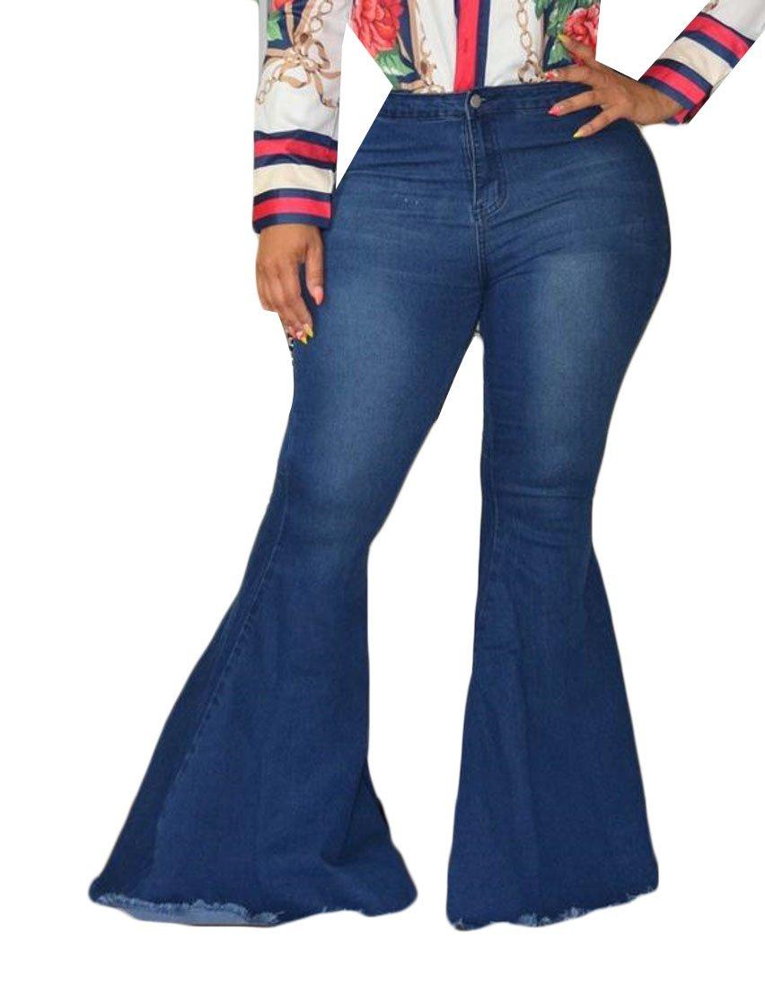 Cromoncent Women's High Rise Denim Chic Stretch Wide Leg Flare Jean Pants Dark Blue XL