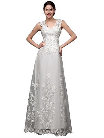 Beauty-Emily Lace Hem Mesh Sleeveless V-Neck Train Sheer Wedding ...