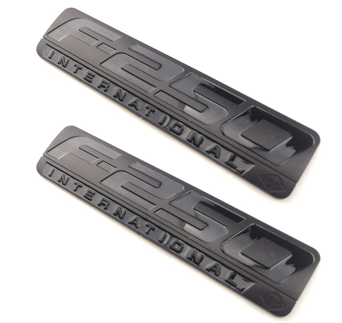 2PCS F-250 INTERNATIONAL Side Fender Emblem 3D Nameplate Badge Logo Decal Replacement for F250 Black