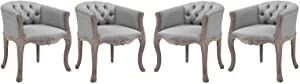 Modway Crown French Vintage Barrel Back Tufted Upholstered Fabric Fully Assembled, Four Dining Armchairs, Light Gray