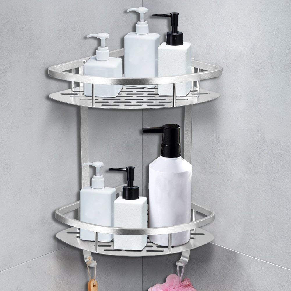 Shower Caddy No Drilling Aluminum Wall Mounted Corner Bathroom Shelf 2 Tiers Shelf Organizer Adhesive Storage Basket - Silver by HOMEE (Image #5)