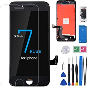 for iPhone 7 Plus Screen Replacement Black 5.5Inch HICTKON LCD Display with 3D Touch Screen Digitizer Frame Assembly with Free Repair Tools Kit+Screen Protector