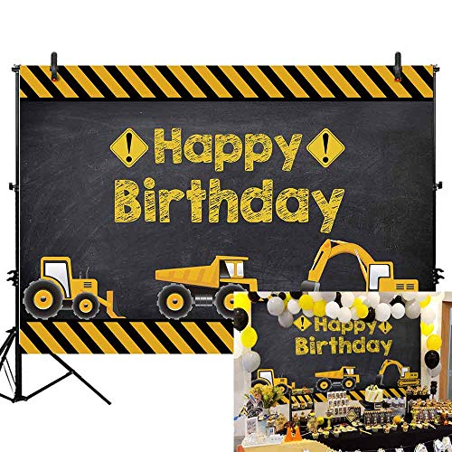 - Allenjoy 7X5ft Construction Theme Birthday Party Backdrop Digger Excavator Dump Trucks Boy Kids Birthday Banner Decorations Supplies Photography Background Photobooth Props