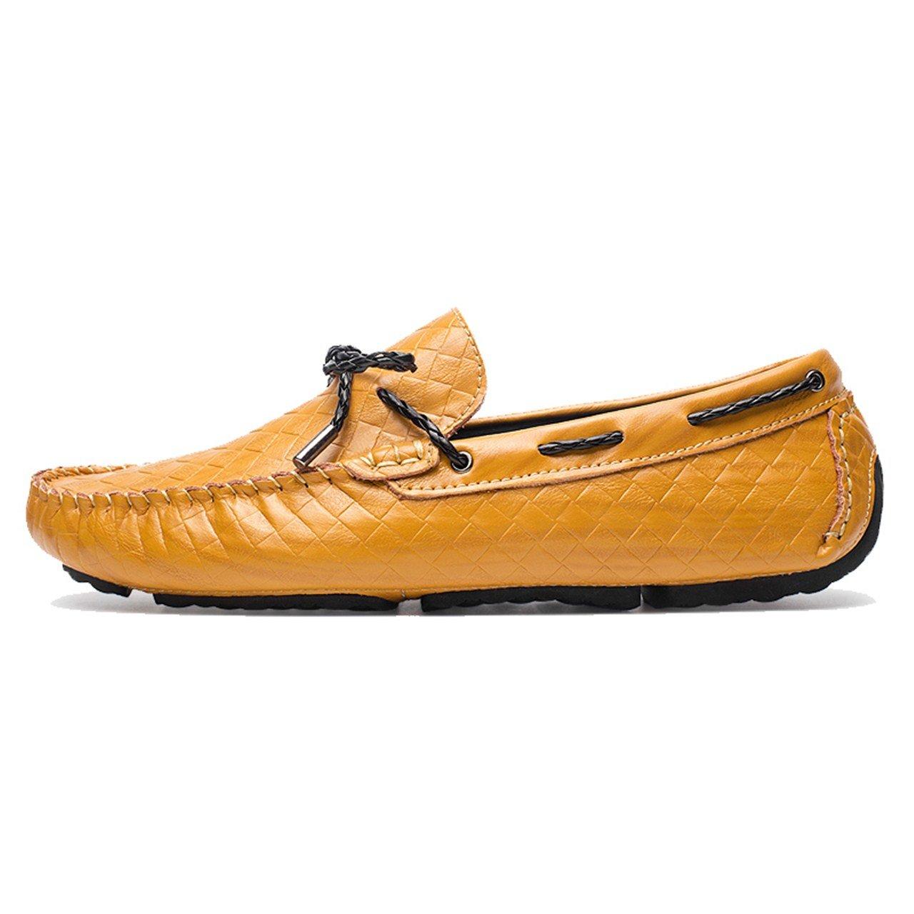 TRULAND Mocasines con Lazo en Cuero con Efecto Entretejido para Hombres: Amazon.es: Zapatos y complementos