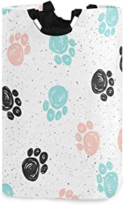 Blueangle 22.7'' Doodle Dog Paw Design Waterproof Foldable Laundry Hamper, Dirty Clothes Laundry Basket, Storage Organizer for Toy Collection