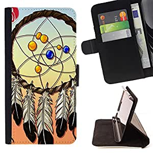 - Dream Catcher - - Premium PU Leather Wallet Case with Card Slots, Cash Compartment and Detachable Wrist Strap FOR Apple Iphone 5C King case
