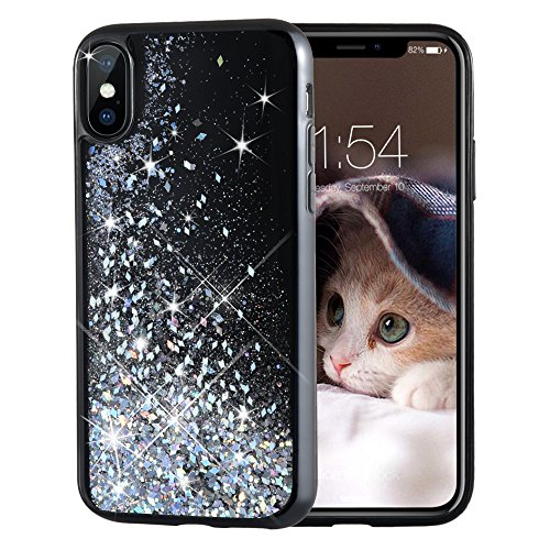 Maxdara iPhone X Case, iPhone Xs Glitter Liquid Sparkle Floating Luxury Bling Quicksand Shockproof Protective Bumper Silicone Case Pretty Fashion Design for Girls Children for iPhone X/XS (Silver)