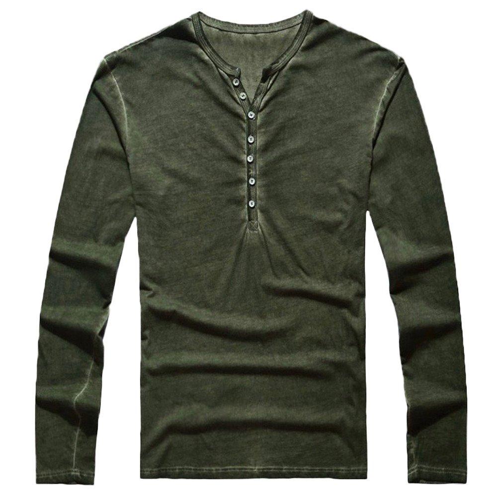 OSYARD Herren Vintage V-Ausschnitt Baumwolle Bluse M/änner Herbst L/ässige Vintage Taste Langarm Henry Kragen V-Ausschnitt T-Shirt Top Bluse