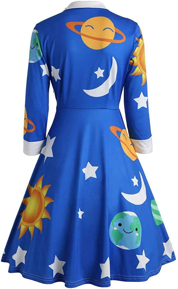 Long Dresses for Women,Fashion Womens Sun Star Print Botton Long Sleeve Flare Vintage Dress