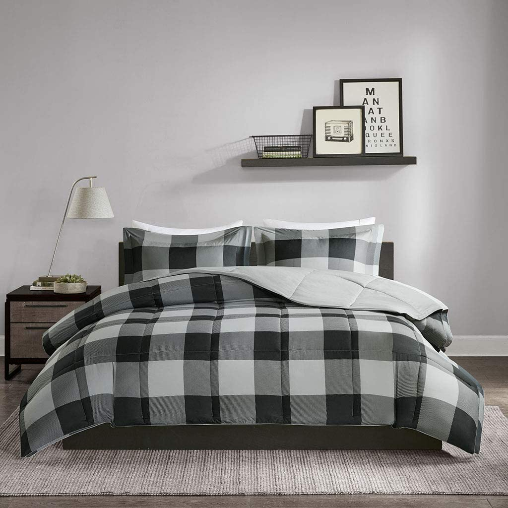 JLA Home INC Barrett Set Sets-3M Scotchgard Plaid-Ultra Soft Microfiber Bed Comforters, Twin/Twin XL, Grey/Black