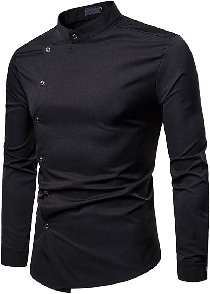 MirrliyMen Fashion Long-Sleeve Solid Colored Stand up Collar Buttons Shirts