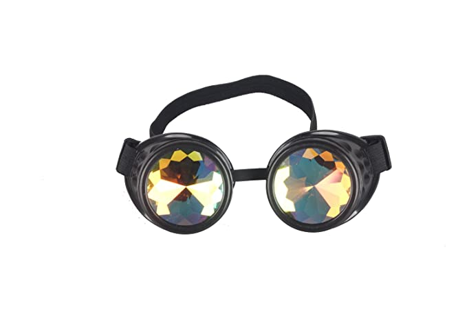 80ae5893132a Lelinta Steampunk Rave Glasses Goggles with Rainbow Crystal Glass  Lens