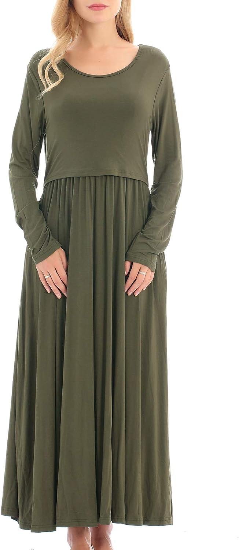 Smallshow Damen Mutterschaft Umstandskleid Pflege Kleid Casual Langarm Stillen Stillende Kleidung