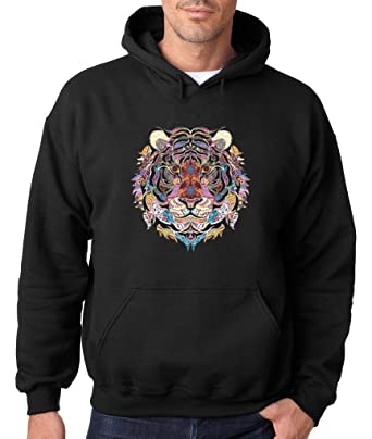 Amazon Com Cool Tiger Mosaic Art Love Of Animal Hoodie Day Of Dead
