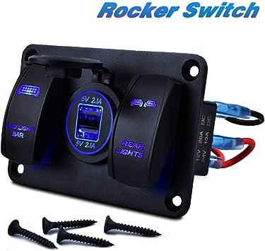 RZR Truck Auto Boat 2-Port USB Charge Panel Illuminated White LED Rocker Switch