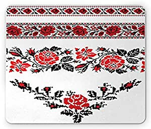 Ukrainian Mouse Pad by Lunarable, Romantic Embroidery Roses Ethnic Valentines Day Image Feminine Themes, Standard Size Rectangle Non-Slip Rubber Mousepad, Scarlet Black Red