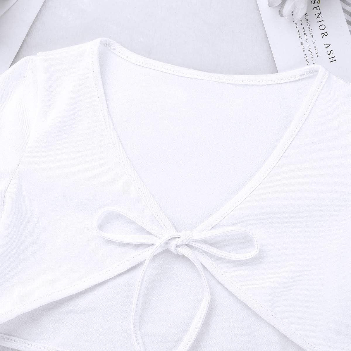 iEFiEL Girls Short Sleeves Cropped Shrug Bolero Cardigan Kids Self-tie Up Front Short Top