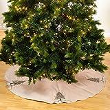 SARO LIFESTYLE 1025.S53R Sapin De Noel Round Tree Skirt, 53'', Silver