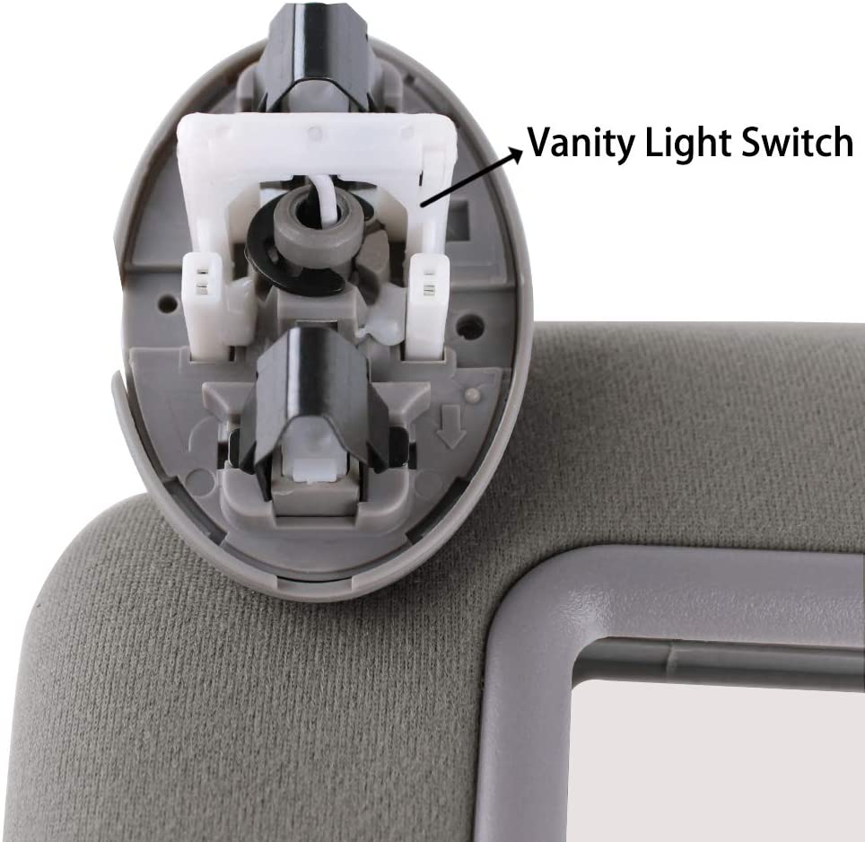 Gray UNIGT Sunroof Version Sun Visor Assemby Replaces for 2007-2011 Toyota Camry//Hybrid Drivers Left Sunvisor Replaces Part # 74320-06800-B0 with Vanity Light Control Gray