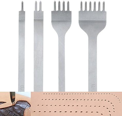 Malayas Perforadoras Herramientas Artesanales Costura, Tenedores para Coser Cuero, Herramientas de Cuero para Marcar Puntadas, Juego de Perforadores de Cuero de 1+2+4+6 Puntas-4mm: Amazon.es: Hogar