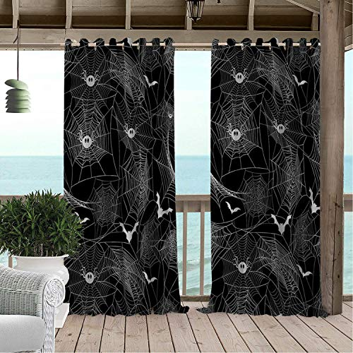 Linhomedecor Outdoor Waterproof Curtain Halloween Spider Bat pergola Grommets Parties Curtain 96 by 72 inch]()