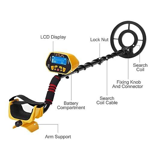 URCERI GC-1028 - Detector de metales (alta precisión, resistente al agua, 2 modos, excavador de oro con bobina de búsqueda sensible, pantalla LED para ...