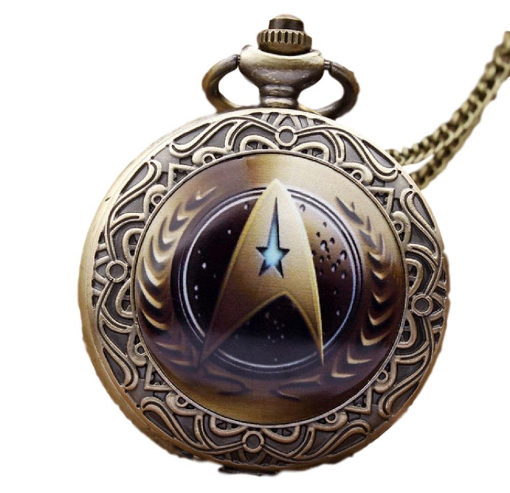 Star Trek Command Glass Dome Bronze Finish Pendant Pocket Watch