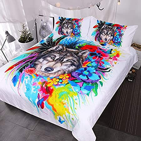 Blessliving Floral Boho Wolf Duvet Cover Cool Wildlife Bedding Set Bright Rainbow Flower Blossoms Bed Spread (Full)