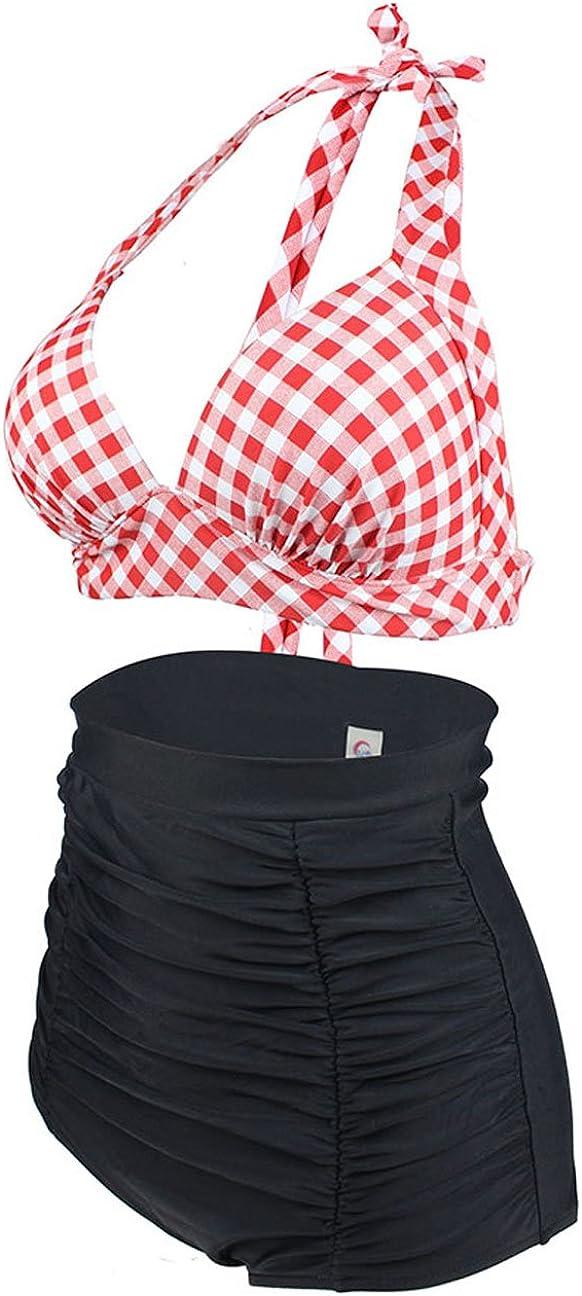 Laorchid Rockabilly Womens high Waist Bikini Set Push Up Audrey Hepburn Check