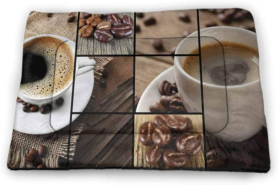 Nomorer Medium Cat Bed Brown for Food and Water for Wood Floors Coffee Themed Collage Close Up Mugs Beans on Wooden Table Aromatic Roasted Espresso Drink 23