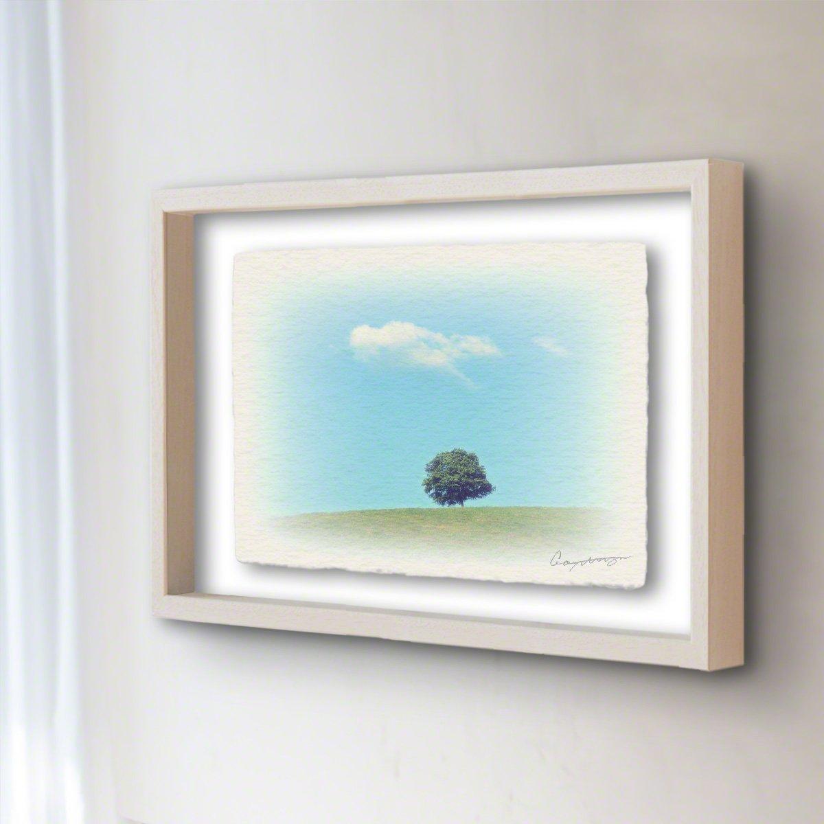 和紙 アートフレーム 「丘の上の木とはぐれ雲」 (32x26cm) 絵 絵画 壁掛け 壁飾り 額縁 インテリア アート B074Y91YGP 22.アートフレーム(長辺32cm) 14800円|丘の上の木とはぐれ雲 丘の上の木とはぐれ雲 22.アートフレーム(長辺32cm) 14800円