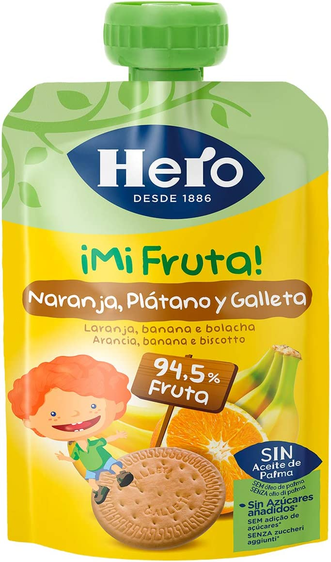 Hero - Bolsita De Fruta Naranja, Plátano Y Galleta 100 gr - Pack de 9 (Total 900 gr): Amazon.es: Alimentación y bebidas