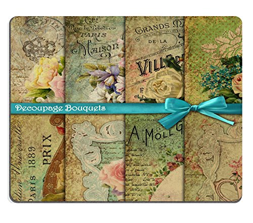 Pad Decoupage (Wknoon Mouse Pad Vintage Floral Scrapbook Paper (Decoupage Bouquets) Custom Design, 9.5 X 7.9 Inch (240mmX200mmX3mm))