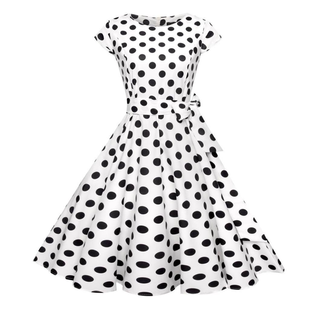Mitlfuny Damen Vintage Bodycon Kurzarm Casual Retro Abend Party Prom Swing Kleid