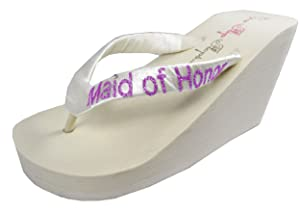 Maid of Honor Glitter Wedge 3.5 inch Wedding Flip Flops Bridesmaid Gift, Pink Ivory