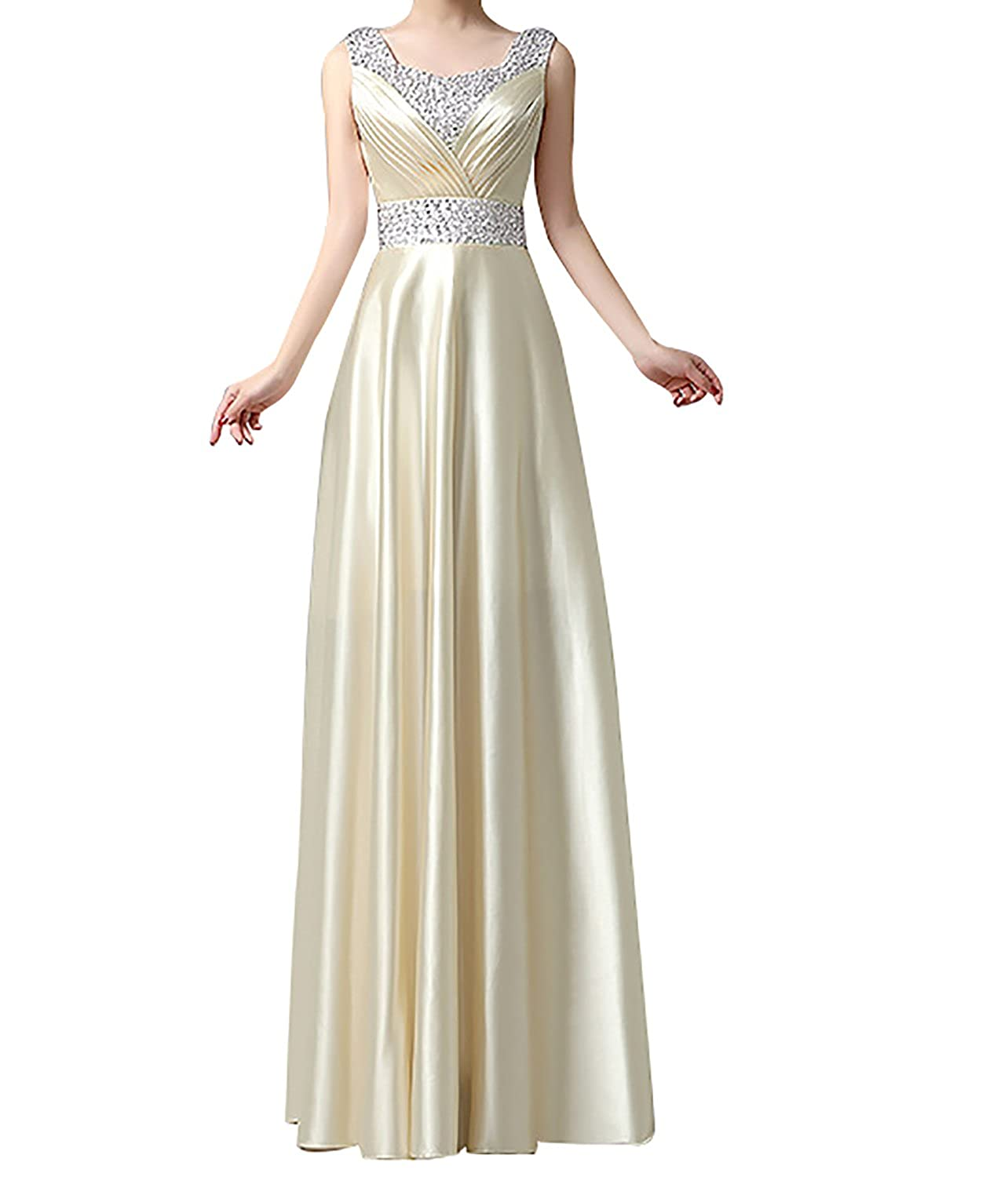 e10d52f022 UTAMALL Women s Long Straps Sleeveless Beaded Evening Formal Dress  Boat-Neck A-Line Floor Ruche Prom Party Gowns at Amazon Women s Clothing  store