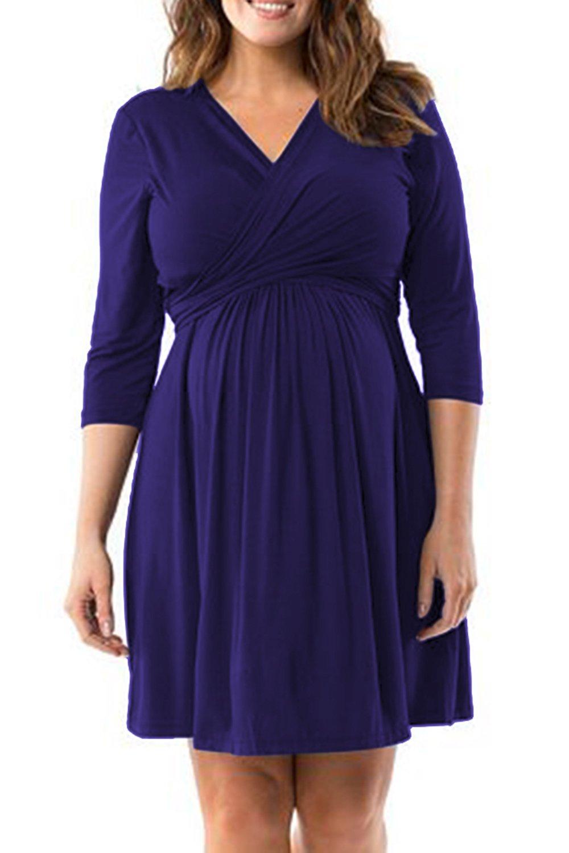 Pink Queen Ladies' Autumn Pregnants Flared Maternity Plus Size Dresses XL Blue