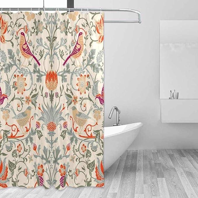 SFQAZW Tenda di Doccia Impermeabile del Poliestere Tenda di Bagno del Modello del Fiore di William Morris per Le Tende Decorative della Casa del Tessuto del Bagno (W) 200x(H) 180cm