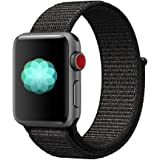 Nylon Sport Band for Apple Watch 44mm 42mm, Soft Replacement Strap for iWatch Series 4/3/2/1 (Black)