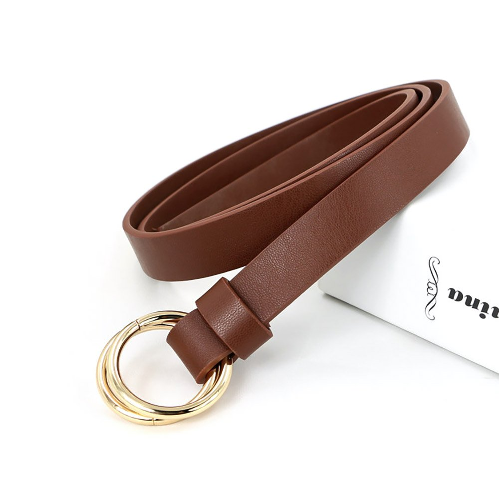 Ya Jin Womens Adjustable Soft PU Leather Waist Band Double Metal Ring Cinch Belt