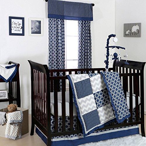 Doodle & Dot Patch Blue and Grey Crib Bedding - 11 Piece Sleep Essentials Set