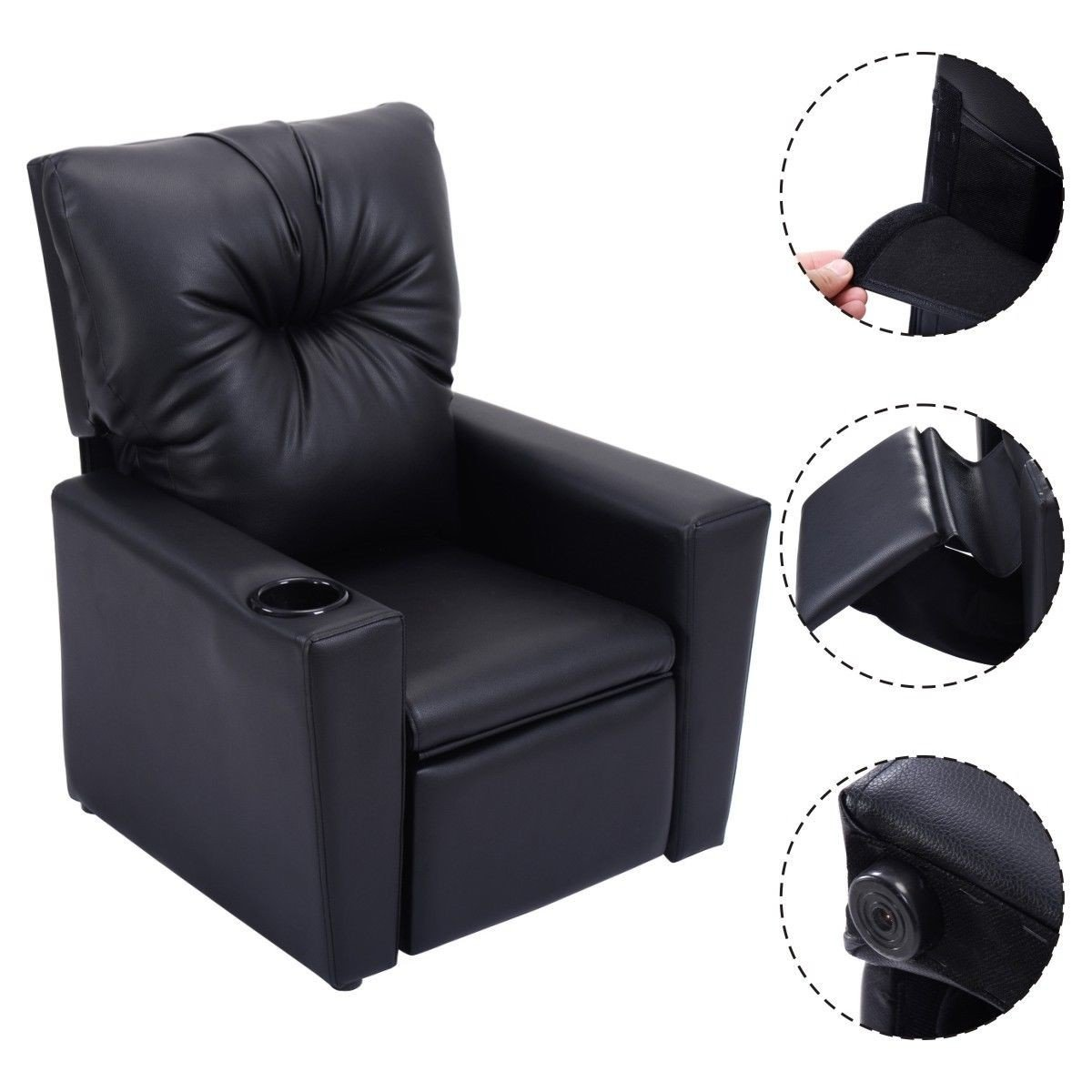 Kids Recliner with Cup Holder Black Leather Sofa Chair Recliners Chairs for Children