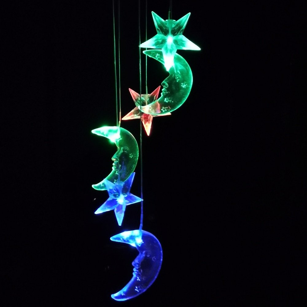Lighten Glimmer Colorful Solar Spiral Wind Waterproof Changing Romantic Star Moon Wind Chime Light Mobile Balcony Courtyard Hanging (For Outdoor Garden) by Lighten Glimmer (Image #3)