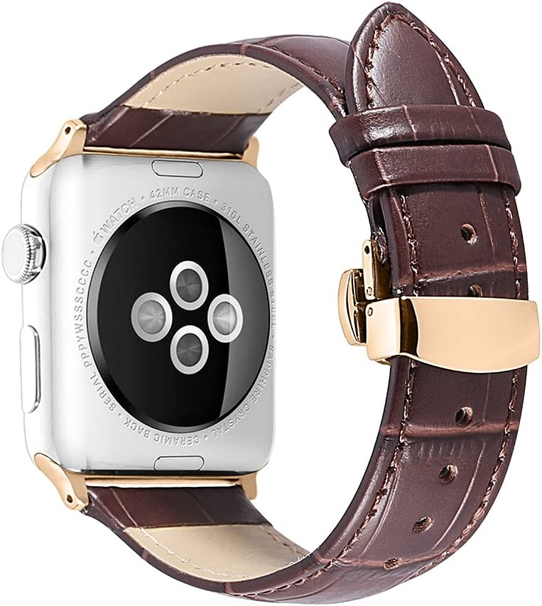 iStrap Alligator Grain Calf Leather Band for Apple Watch 44mm 40mm Series 6 SE 5 Series 4 Black Brown Replacement Strap Steel Buckle for iWatch 42mm 38mm Series 3 2 1 Sport Edition