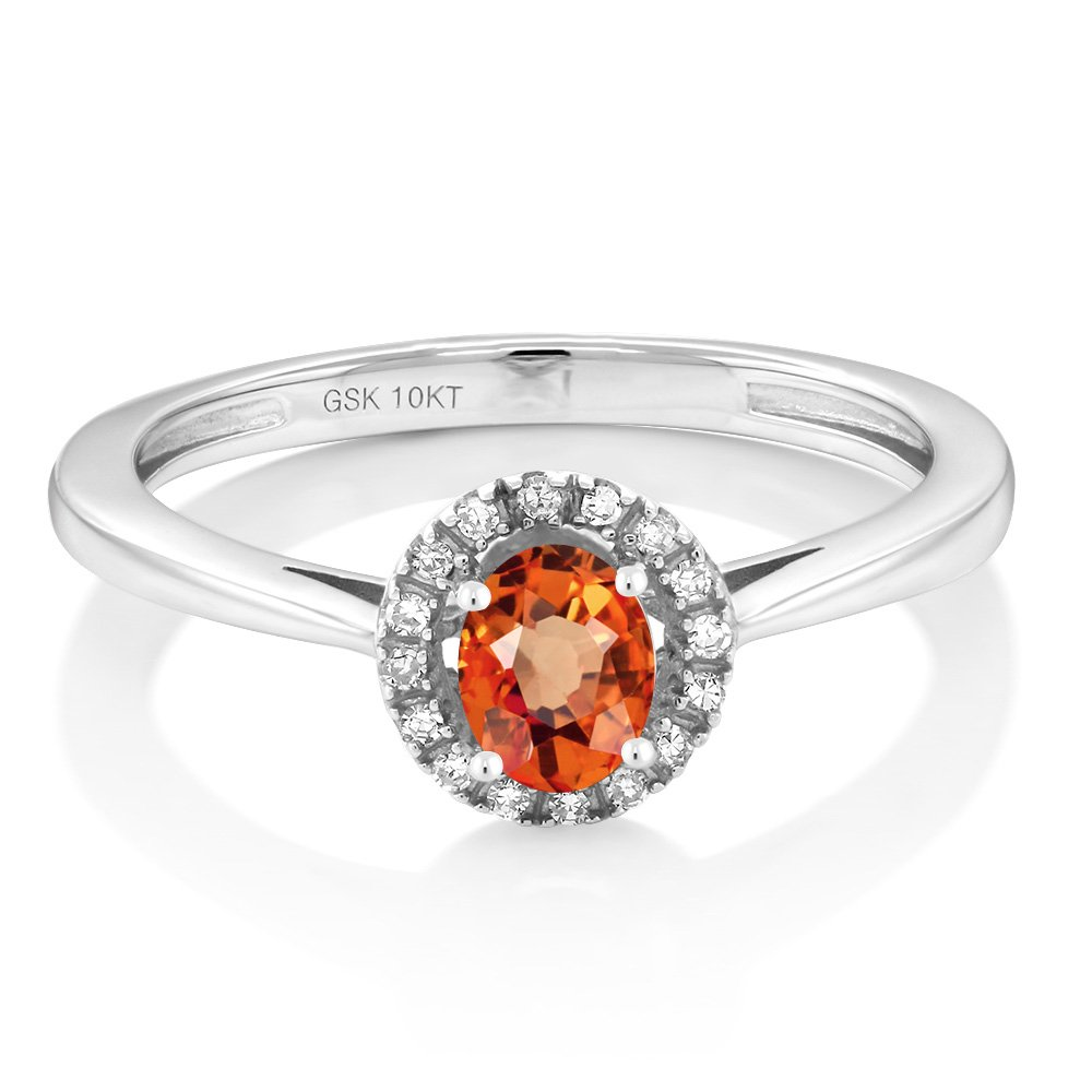 10K White Gold Diamond Engagement Ring with Oval Orange Sapphire (Ring Size 6)
