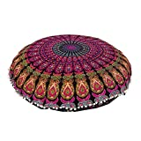 32'' PURPLE MANDALA FLOOR PILLOW CUSHION SEATING THROW COVER HIPPIE DECORATIVE Bohemian Ottoman Poufs, Pom Pom Pillow Cases,Boho Indian