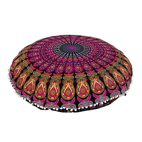 "Yellow Purple 32"" Mandala Pillow Cover Cushion Cover Cotton Round Floor Pillow Cover Indian Pouf Cover"
