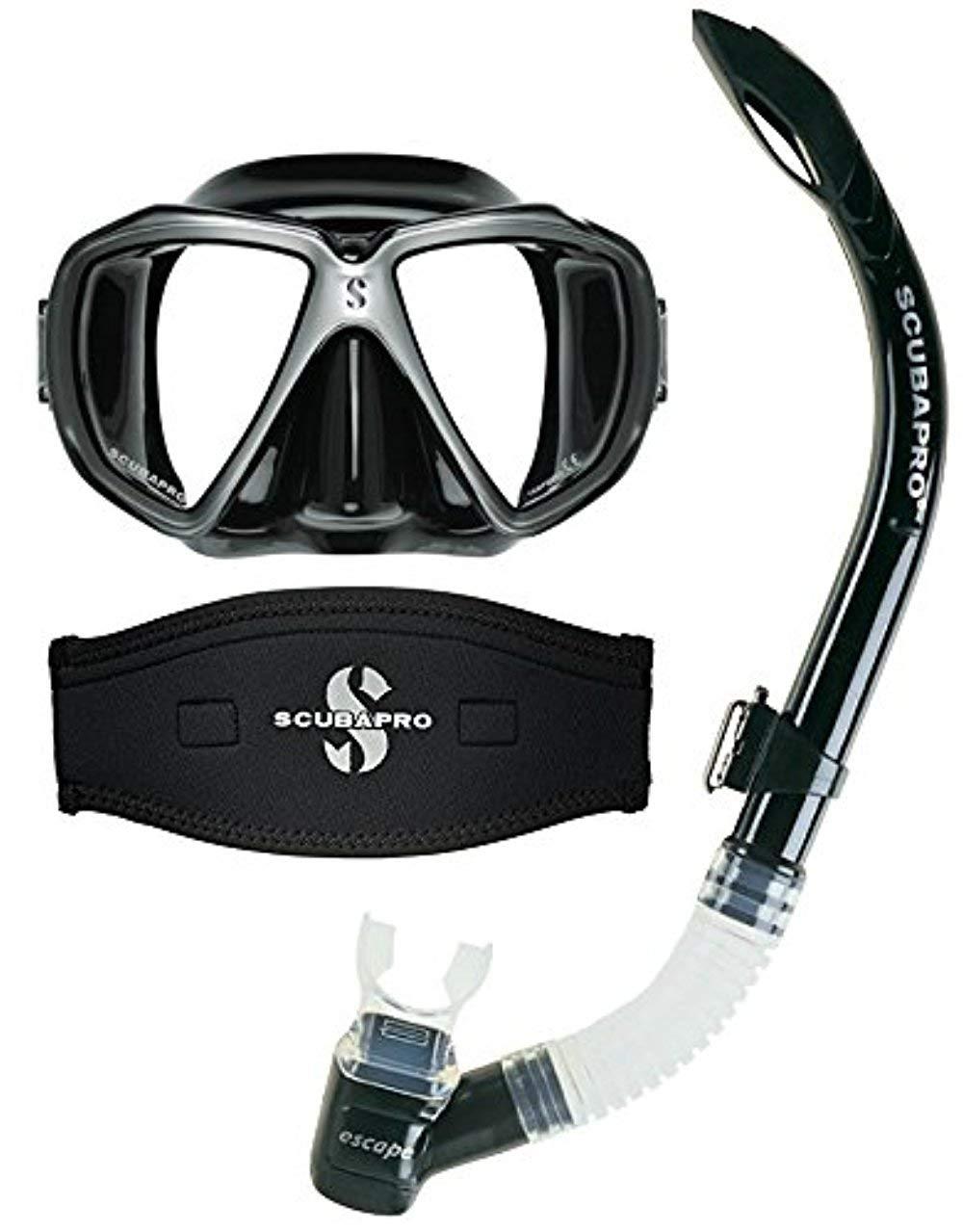 Scubapro Spectra Scuba Dive Mask (Black/Silver) w/Neoprene Strap Cover & Escape Semi-Dry Snorkel