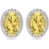 1.7 Ct Oval Shape Citrine Solitaire Earring, SGL Certified Diamond Halo Earring, Art Deco Wedding Earring, HI-SI Color…