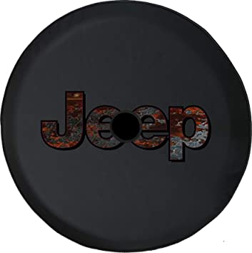 Pike Outdoors JL Series Spare Tire Cover Backup Camera Hole Jeep Diamond Plate Steel Silver Black 32 in